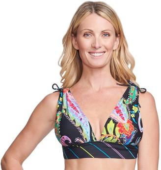 Women's Mazu Swim Floral Paisley Grecian Bikini Swim Top with Bust Enhancer