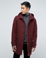 Asos Shower Resistant Hooded Trench Coat in Burgundy