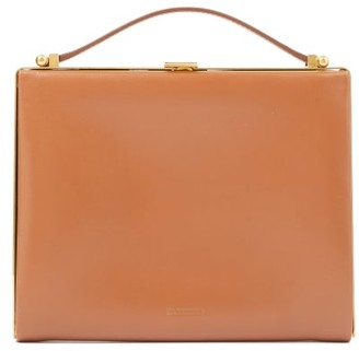 Jil Sander Metal-frame Leather Clutch Bag - Tan