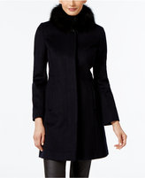 Via Spiga Fox-Fur-Collar Walker Coat