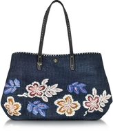 Tory Burch Kerrington Tory Navy Straw Square Tote