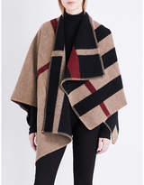 Burberry Check pattern wool cape