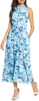 Badgley Mischka Sleeveless Floral Shirt Dress