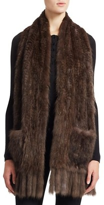 The Fur Salon Fringed Knitted Sable Fur Stole