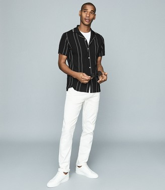 Reiss Vamos - Embroidered Short Sleeve Shirt in Black