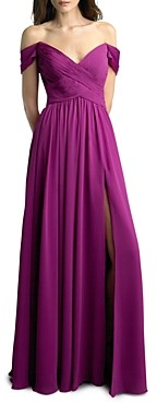 Basix II Off-the-Shoulder Pleated Gown - 100% Exclusive