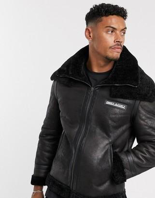 Night Addict suedette faux fur collar jacket