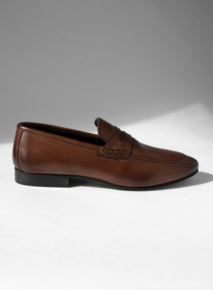 Topman Brown Real Leather Corden Loafers