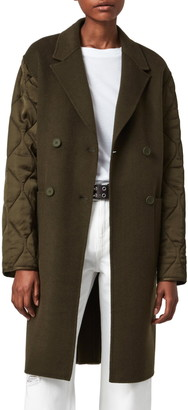 AllSaints Florence Quilted Sleeve Double Breasted Wool Coat