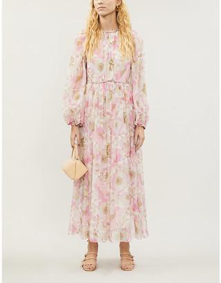 Zimmermann Pink Poppy Floral Print Super Eight Silk-Crepe Midi Dress, Size: M