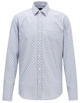 BOSS Regular-fit shirt in recyclable cotton with micro pattern