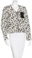 Sandro Leather-Accented Patterned Jacket