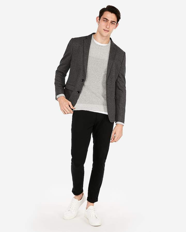 Express Slim Herringbone Knit Blazer