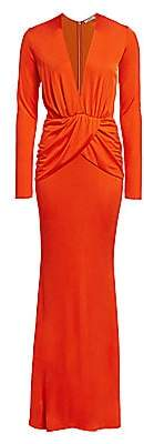 Amen Women's Draped Long-Sleeve Jersey Gown