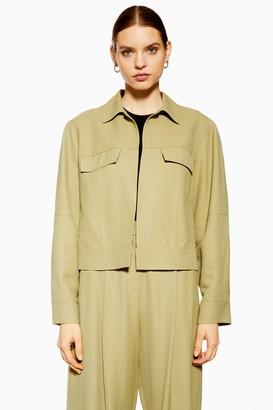 Topshop Womens **Khaki Cropped Jacket By Khaki