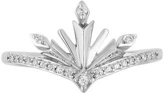 ENCHANTED FINE JEWELRY BY DISNEY Enchanted Disney Fine Jewelry Frozen 2 Womens 1/10 CT. T.W. Genuine Diamond Sterling Silver Disney Princess Cocktail Ring