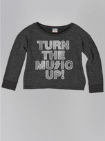 Junk Food Clothing Kids Girls Turn The Music Up Fleece-charcoal-l