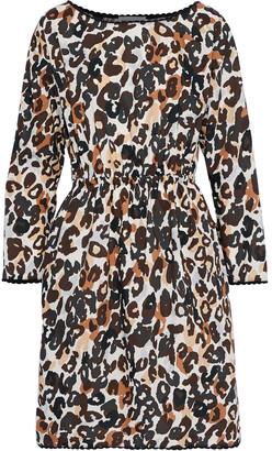 Sonia Rykiel Gathered Leopard-print Cotton-poplin Dress