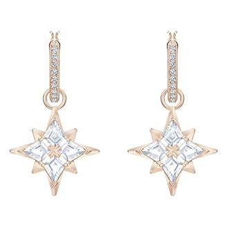 Swarovski Women's Rose-Gold Tone Plated White Crystal Symbolic Star Hoop Pierced Earrings 5494337