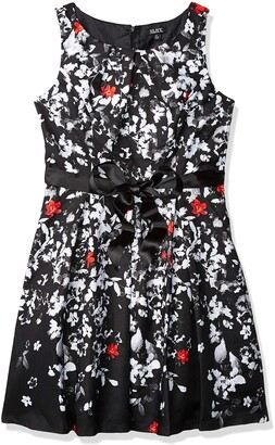 SL Fashions Women's Sleeveless Printed Belted Fit and Flare Dress Black/White 14