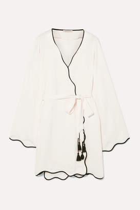 Off-White Morgan Lane - Annabelle Paneled Crinkled-charmeuse Robe
