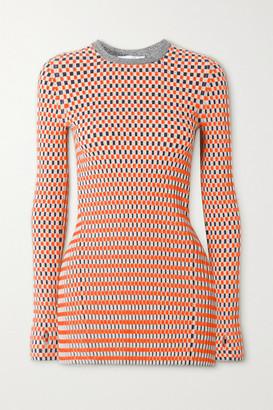 Paco Rabanne Ribbed Cotton Jacquard-knit Top - Orange