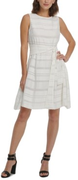 DKNY Multi-Texture Striped Fit & Flare Dress