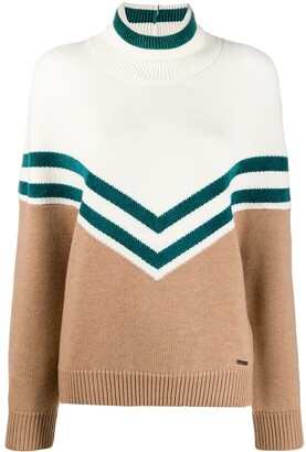 DSQUARED2 Chevron Knit Jumper With Roll Neck