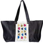 Zeus and Dione Ithaka Embroidered Leather Tote Bag, Black
