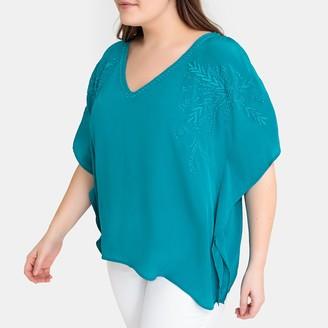 Castaluna Plus Size Boxy Embroidered Split-Sleeve Blouse