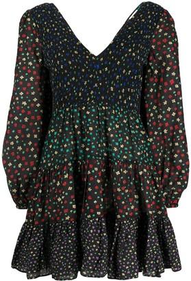 Rixo V-Neck Tiered Mini Dress