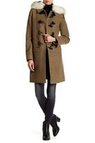 DL2 Waverly Genuine Coyote Fur Trimmed Wool Blend Toggle Coat