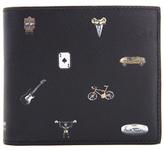 Paul Smith Cufflink Print Leather Billfold Wallet Black