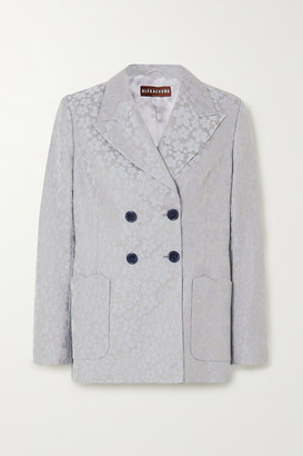ALEXACHUNG Double-breasted Embroidered Woven Blazer - Sky blue