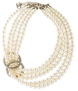 Chanel Faux Pearl, Crystal CC Multistrand Collar Necklace gold Faux Pearl, Crystal CC Multistrand Collar Necklace
