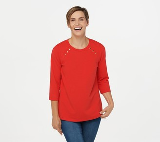 Denim & Co. Active French Terry Round-Neck 3/4 Sleeve Top