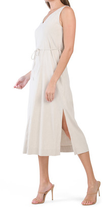 Stretch Linen V-neck Midi Dress