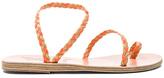 Ancient Greek Sandals x Lemlem Leather Eleftheria Braids Sandals in Orange,Neutrals,Neon.