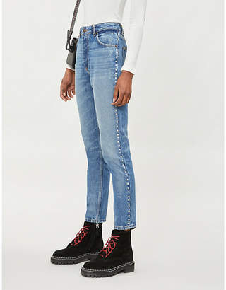 The Kooples Rhinestone-trim skinny high-rise jeans