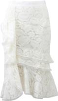 Oscar de la Renta Lace Cascade Ruffle Skirt