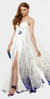 Faviana Strapless Floral Printed Chiffon Evening Dresses