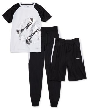 Hind Boys 4-16 Graphic T-Shirt, Shorts, & Tricot Joggers Athletic Set, 3-Piece