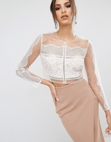 KENDALL + KYLIE Paneled Long Sleeve Crop Top