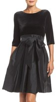 Adrianna Papell Velvet & Taffeta Fit & Flare Dress