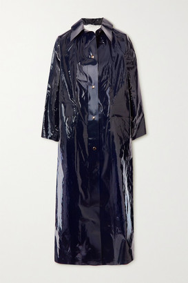 Kassl Editions Original Glossed Pu And Cotton-blend Trench Coat - Navy
