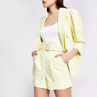 River Island Yellow high corset belted waist shorts