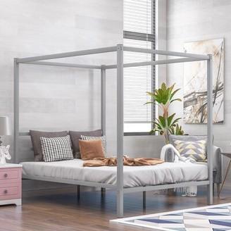 Latitude Run Adetokunbo Queen Canopy Bed Color: Silver