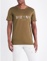 Balmain Metallic logo-print cotton-jersey T-shirt