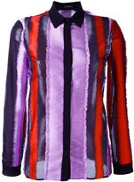 Versace ruched edge stripe shirt