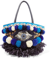 Figue Ibiza Tuk Tuk Mini Leather-trimmed Embellished Canvas Tote - Blue
